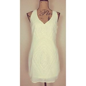 Ark & Co Ivory Embroidered Chiffon Mini Dress